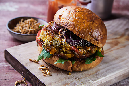 speciality gourmet fried mealworm insect burger