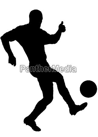 soccer player as silhouette isolated while