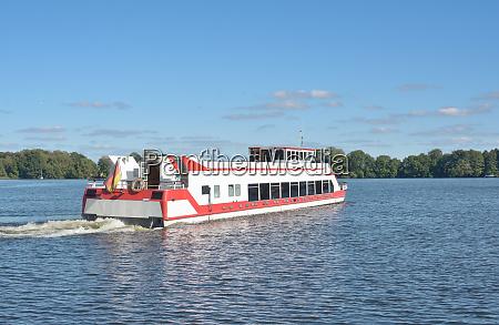tourist boat at lake mueritz