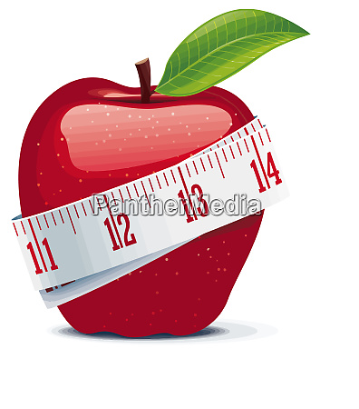 weight loss red apple measuring tape