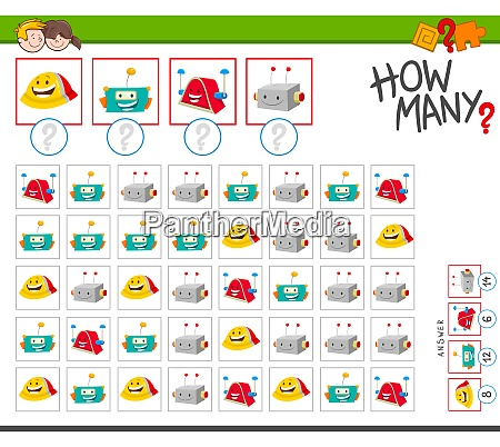 how many robots cartoon counting game