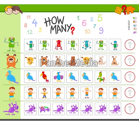 counting game with cartoon characters