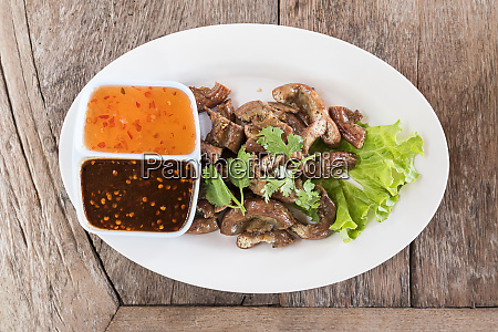top view pigs intestines grilled thai