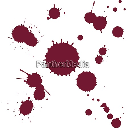 red wine stain drops isolated on