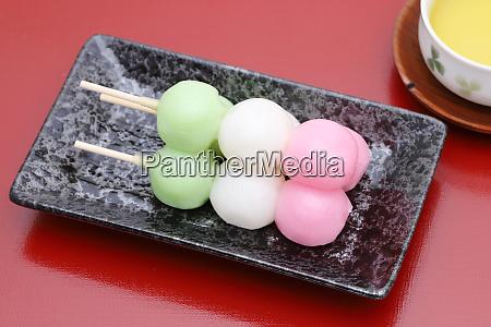 japanese confectionery sanshoku dango for traditional