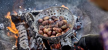 panorama banner of a man roasting
