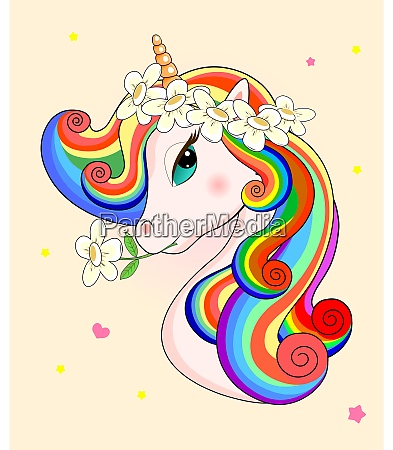 lovely unicorn with flowers