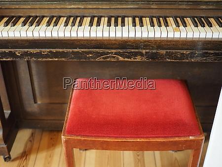 detail of piano keyboard keys