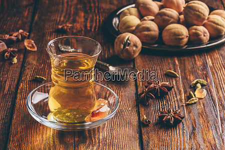oriental tea with spices in armudu