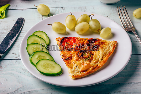 breakfast frittata with sliced cucumber and