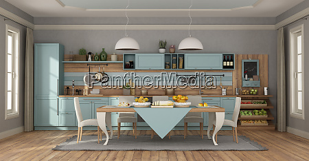 clear blue classic kitchen