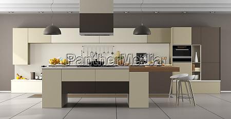 beige and brown modern kitchen with