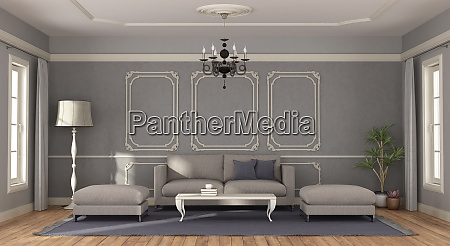 modern gray sofa in a room