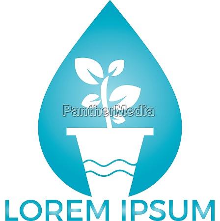 water drop and flower pot logo