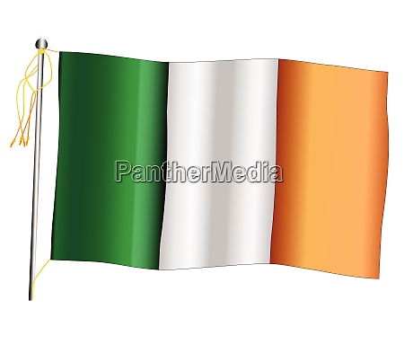 eire waving flag and flagpole