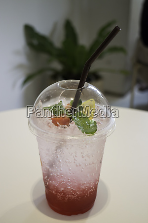 refreshment drink with iced mix berry