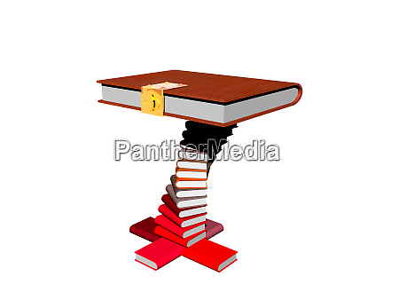 books stacked on a table with