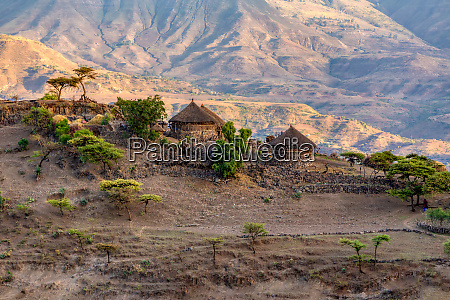 mountain landscape with houses ethiopia