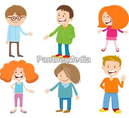 cartoon happy kids ant teen characters