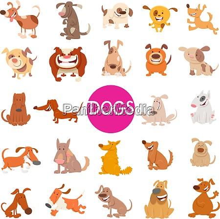 funny dog cartoon characters large set