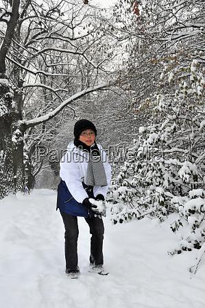 snow pleasure in the winter forest