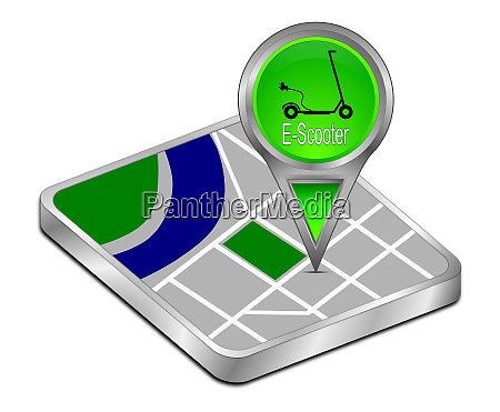 green map pointer with e scooter