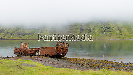 shipwreck from mjoifjordur fiord east iceland