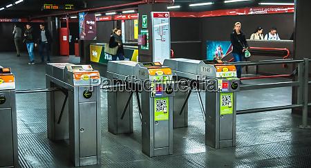 milan metro entrance gantry in an