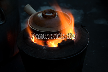 pot simmering on a small barbeque