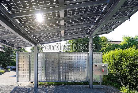 new carport with semi transparent photovoltaik