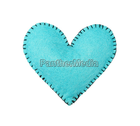 one blue felt stitched heart isolated