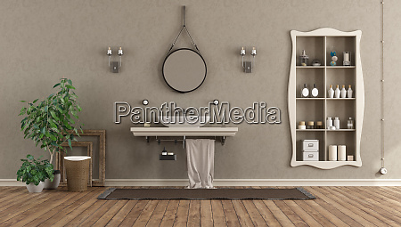 bathroom with washbasin on shelf in