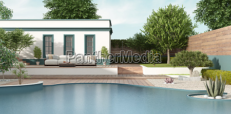 mediterranean style villa with garden and
