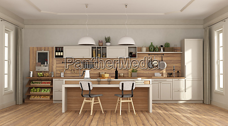 white and wooden kitchen with with
