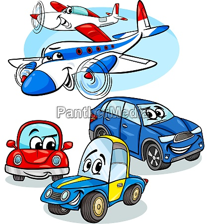cars and planes group cartoon illustration