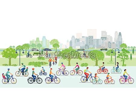 cyclist on the bike path