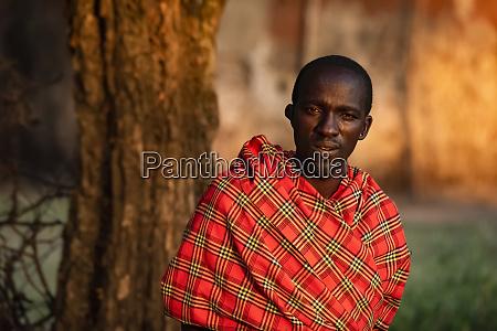 close up portrait of masai man