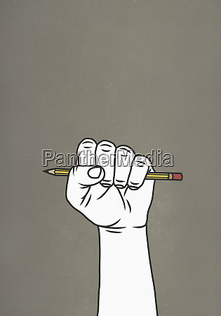 fist gripping pencil