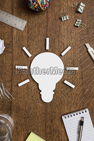 view from above light bulb and