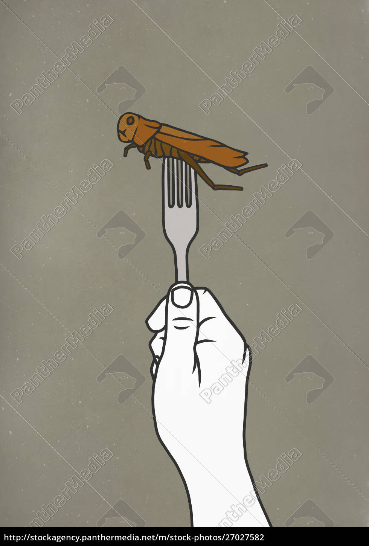 fork, piercing, cockroach - 27027582