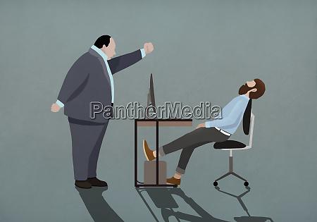 angry boss shaking fist at sleeping