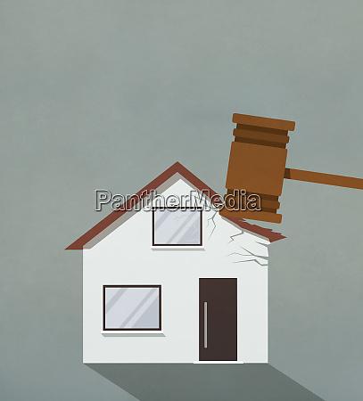 foreclosure gavel pounding on house