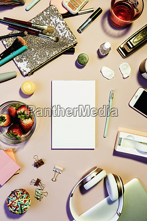 view form above notepad surrounded by
