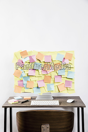 adhesive notes covering computer in office