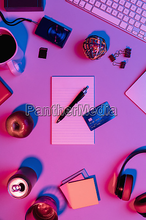 view form above notepad pen and