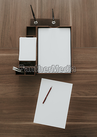 top view of neat wooden desk