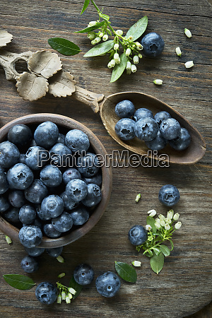 bowl of blueberries wooden spoon blueberry