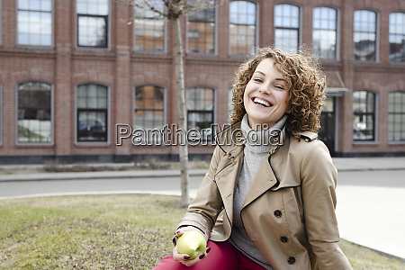 portrait of happy woman with curly