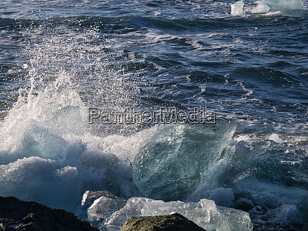 the glacier ice at the coast
