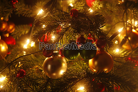 christmas tree with christmas baubles and